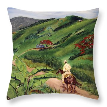 Paseo Por El Campo Throw Pillow by Luis F Rodriguez