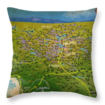 Paso Robles East Side / West Side Wine Tasting Throw Pillow