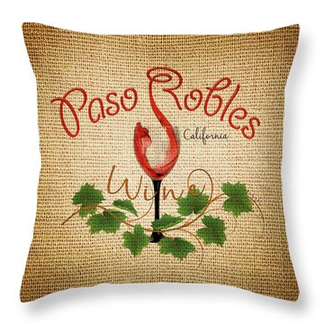 Paso Robles Wine And Burlap Throw Pillow by Cindy Anderson