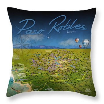 Paso Robles Wine Tasting Throw Pillow by Cindy Anderson