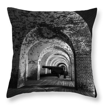 Passageways Of Fort Pulaski In Black And White Throw Pillow