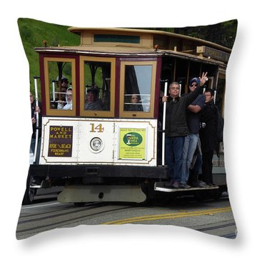 Passenger Waves From A Cable Car Throw Pillow