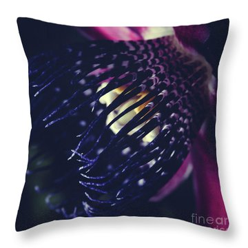 Throw Pillow featuring the photograph Passiflora Alata - Winged Stem Passion Flower - Ruby Star - Ouva by Sharon Mau
