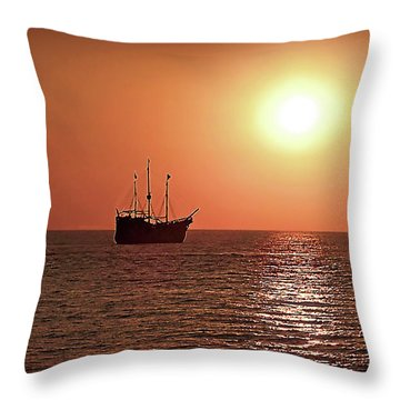 Throw Pillow featuring the photograph Passing By In Calm Waters by Joan  Minchak