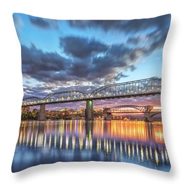 Passing Clouds Above Chattanooga Pano Throw Pillow by Steven Llorca