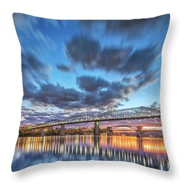 Passing Clouds Above Chattanooga Throw Pillow by Steven Llorca