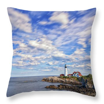 Passing Clouds At Portland Head Light Throw Pillow