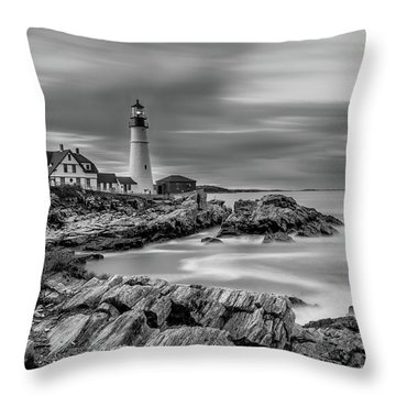 Passing Storm At Portland Head Light Throw Pillow