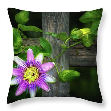 Passion Flower On The Fence Throw Pillow