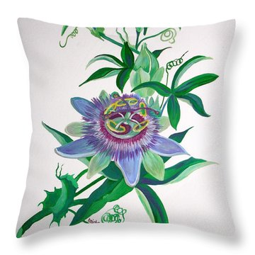 Passion Flower Throw Pillow by Tracey Harrington-Simpson