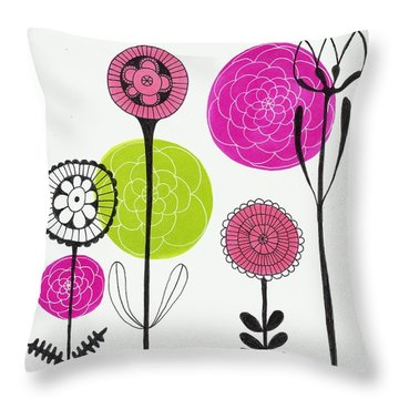Throw Pillow featuring the mixed media Passion Flowers by Lisa Noneman