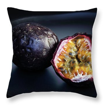 Passion Fruit On Black Plate Throw Pillow