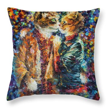 Passion Of The Cats  Throw Pillow by leonid Afremov