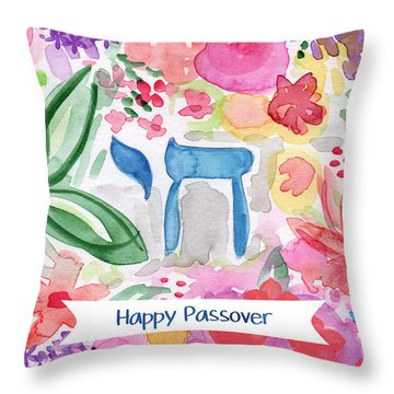 Throw Pillow featuring the mixed media Passover Chai- Art By Linda Woods by Linda Woods