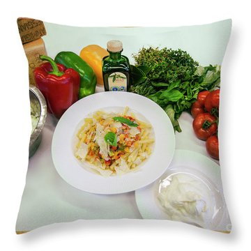 Throw Pillow featuring the photograph Pasta Ingredients  by Ariadna De Raadt