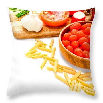 Pasta Please Throw Pillow by Olivier Le Queinec