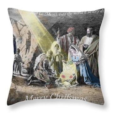 Pastafarian Merry Chrifsmas Scene Throw Pillow