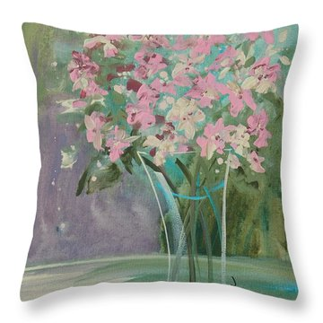 Pastel Blooms Throw Pillow
