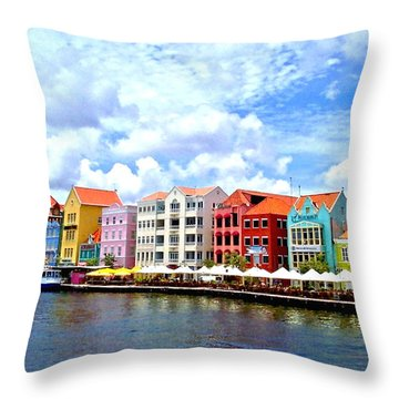 Pastel Building Coastline Of Caribbean Throw Pillow by Amy McDaniel