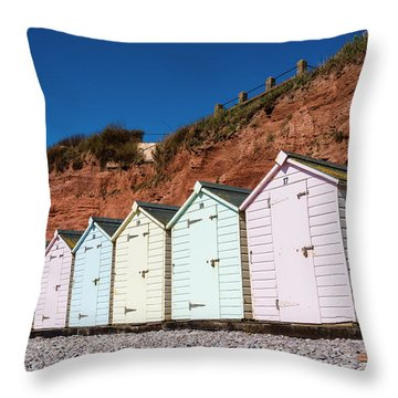 Pastel-coloured Beach Huts Throw Pillow by Lana Enderle