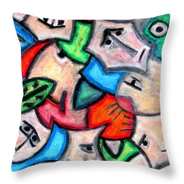 Pastel Heads By Rafi Talby Throw Pillow by Rafi Talby