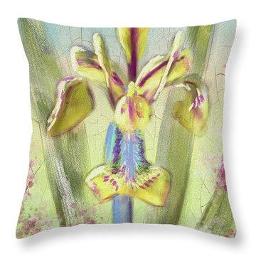 Pastel Iris Throw Pillow by Lois Bryan