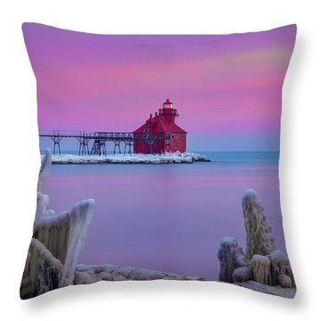 Pastel Lighthouse Throw Pillow