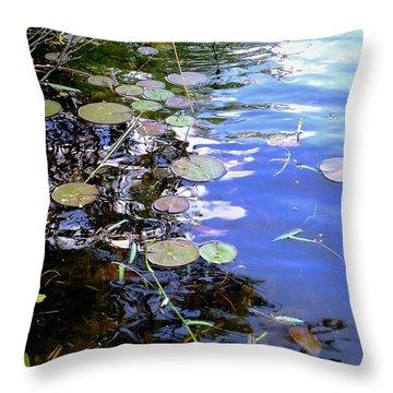 Pastel Lily Pond Throw Pillow