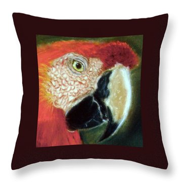 Throw Pillow featuring the pastel Pastel Of Red On The Head  by Antonia Citrino