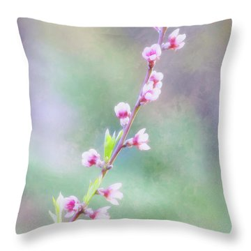Pastel Painted Peach Blossoms Throw Pillow