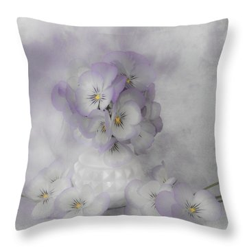Pastel Pansies Still Life Throw Pillow by Sandra Foster
