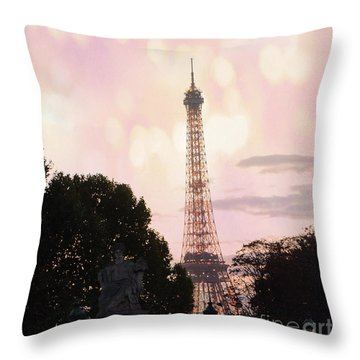 Throw Pillow featuring the photograph Pastel Paris Eiffel Tower Sunset Bokeh Lights - Romantic Eiffel Tower Pink Pastel Home Decor by Kathy Fornal