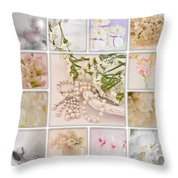 Pastel Photo Collage  Throw Pillow by Sandra Foster