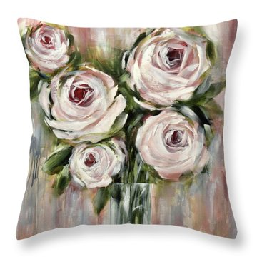 Pastel Pink Roses Throw Pillow by Chris Hobel