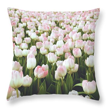 Pastel Pink Tulips- Art By Linda Woods Throw Pillow