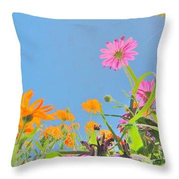 Pastel Poppies Throw Pillow