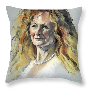 Pastel Portrait Of Woman With Frizzy Hair Throw Pillow