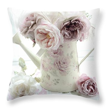 Throw Pillow featuring the photograph Pastel Romantic Shabby Chic Pink Flowers In Watering Can - Romantic Cottage Floral Home Decor  by Kathy Fornal