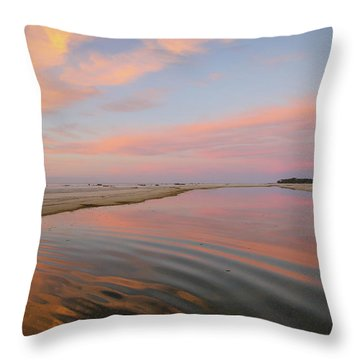 Pastel Skies And Beach Lagoon Reflections Throw Pillow