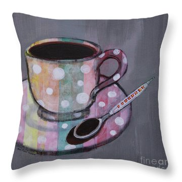 Throw Pillow featuring the painting Pastel Stripes Polka Dotted Coffee Cup by Robin Maria Pedrero