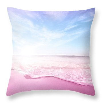 Pastel Summer Beach Vacation Throw Pillow by Fbmovercrafts
