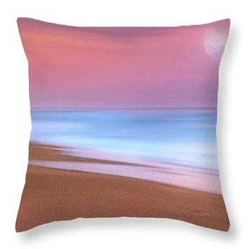 Pastel Sunset And Moonrise Over Hutchinson Island Beach, Florida. Throw Pillow