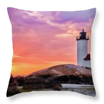 Throw Pillow featuring the photograph Pastel Sunset, Annisquam Lighthouse by Michael Hubley