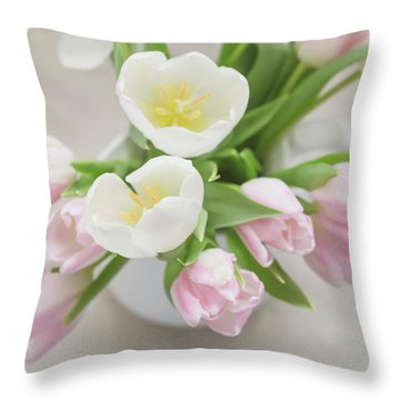 Throw Pillow featuring the photograph Pastel Tulips by Kim Hojnacki