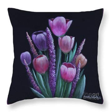 Pastel Tulips Throw Pillow by Kristi Roberts