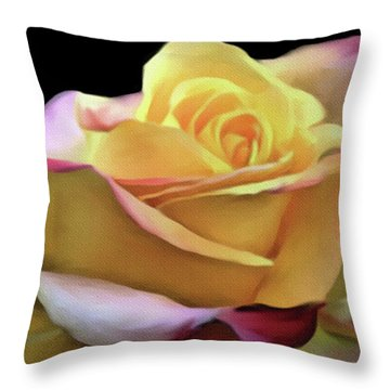 Pastel Yellow Rose Canvas Proofed Throw Pillow