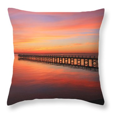 Throw Pillow featuring the photograph Pastels At The Hilton Fishing Pier  by Ola Allen