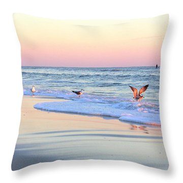 Pastels On Water Throw Pillow by Faith Williams