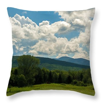 Pastoral Landscape With Mountains Throw Pillow