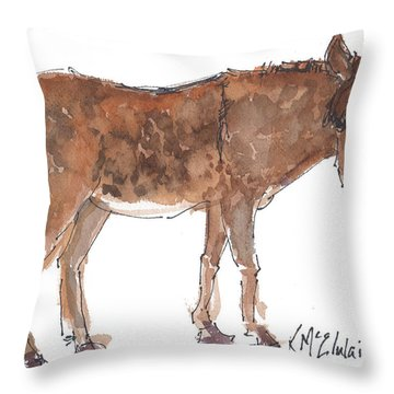 Pasture Boss 2015 Watercolor Painting By Kmcelwaine Throw Pillow